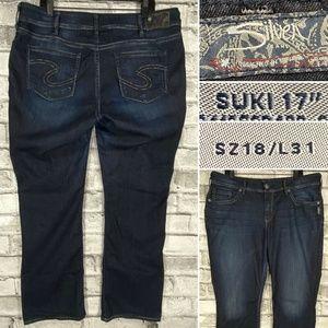 """Silver Jeans Suki 17"""" Womens Sz 18 L31 Dark Wash"""
